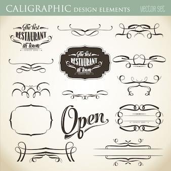 Elementy projektu kaligraficzne ozdobić układu formacie wektorowym
