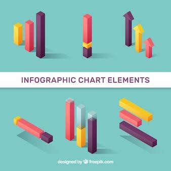 Elementy wykresu infograficznego wielobarwnego