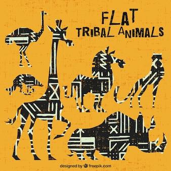 Ethnic African gromadzenia zwierząt w płaskiej konstrukcji