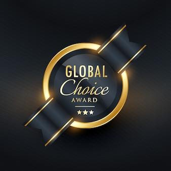 Etykieta globalna wyróżnienie wybór i układ odznaka