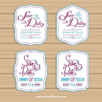 Etykiety ślubne z nowoczesnym stylem