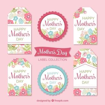 Etykiety Floral w pastelowych kolorach na dzień matki