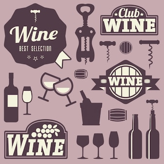Etykiety na wino i ikony projektowania