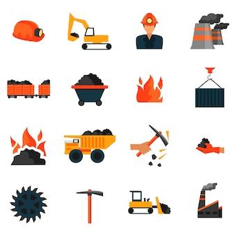 Fabryka przemysłu wydobywającego węgiel ikon zestaw izolowanych ilustracji wektorowych