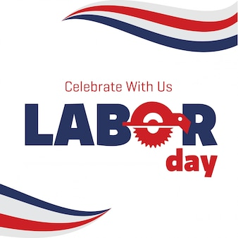 Falując amerykańskie flagi z typografią Dzień Pracy Święto 4 września Stany Zjednoczone Ameryki Dzień pracy w Stanach Zjednoczonych Piękna flaga USA Skład Dzień Święto Pracy Plakat Białe Tło