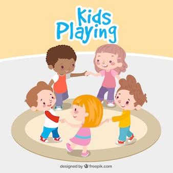 Fantastyczna tła dzieci grają razem