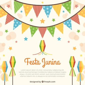 Festa junina tle z wianek i latawce