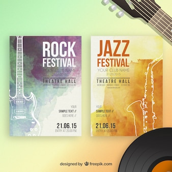 Festiwal muzyki plakaty akwarela