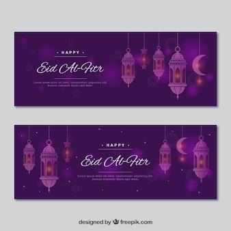 Fioletowy banner eid al fitr