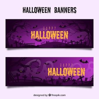 Fioletowy halloween transparenty