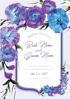 Fioletowy i niebieski kwiatowy zaproszenie na wesele