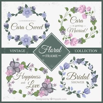Fioletowy i różowy kwiatowy ramy kolekcji rocznika