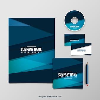 Firma geometria niebieski szablon pakietu