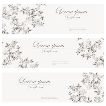 Floral banery wektor retro stylu.