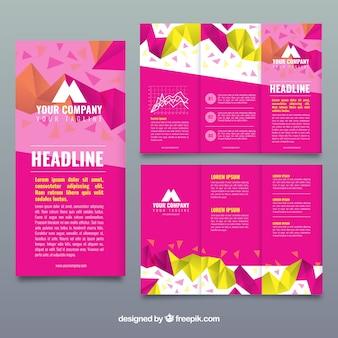 Funky różowy trójwymiarowa broszura biznesowa