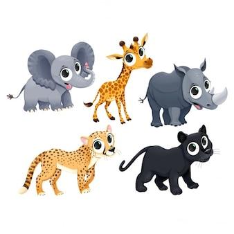 Funny afrykańskie zwierzęta Vector cartoon odizolowane znaków