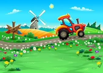 Funny krajobraz z ciągnika na ilustracji wektorowych Cartoon drogowego