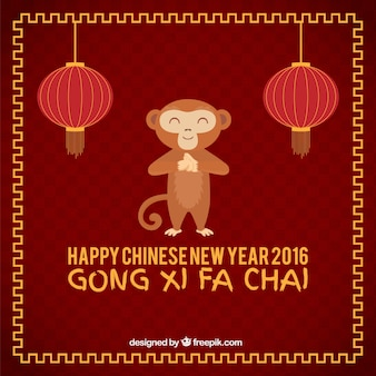 Funny monkey nowego roku tle