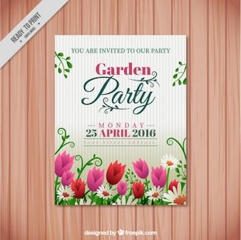 Garden party zaproszenie z tulipanów i stokrotek