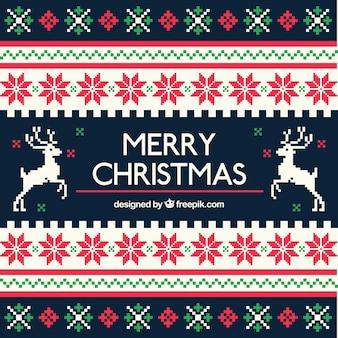 Geometryczne tło Boże Narodzenie w stylu cross stitch