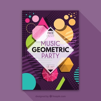 Geometryczny plakat imprezy z nowoczesnym stylem
