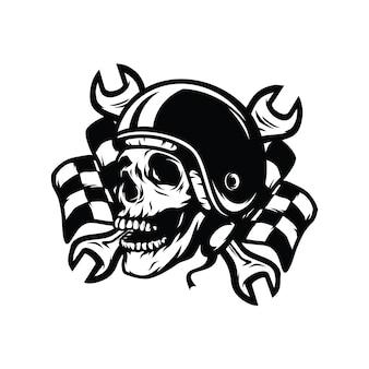 Ghost rider czaszki rowerzysty drogowego wektor maskotki ilustracji