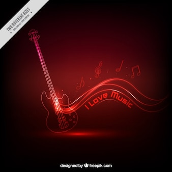 Gitara muzyczne czerwonym tle
