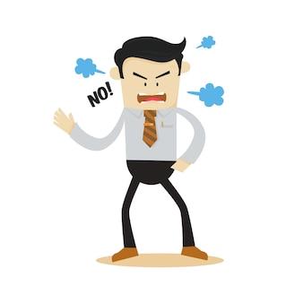 Gniewny biznesmen rysunek charakter