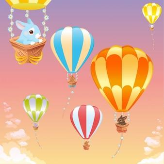 Gorące powietrze balony z królików tle
