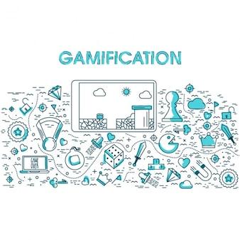 Gra wideo tło z elementami płaskimi i niebieskie szczegóły