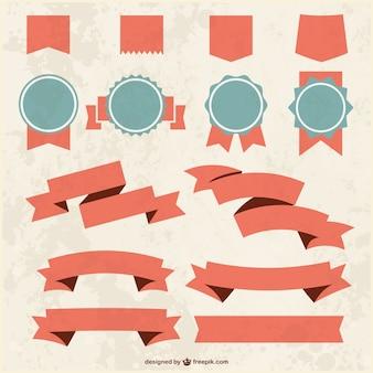 Grunge teksturowane wstążki i odznaczenia