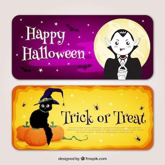 Halloween banery z wampira i kotów