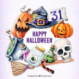 Halloween tła akwarela obiektów