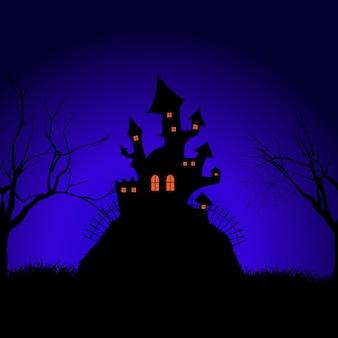Halloween upiorny zamek w tle