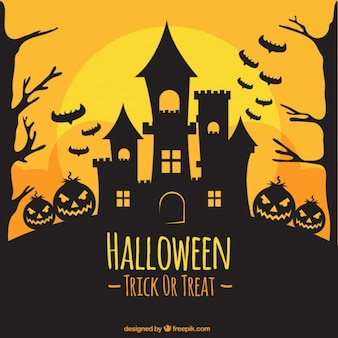Halloween w tle sylwetka zamku