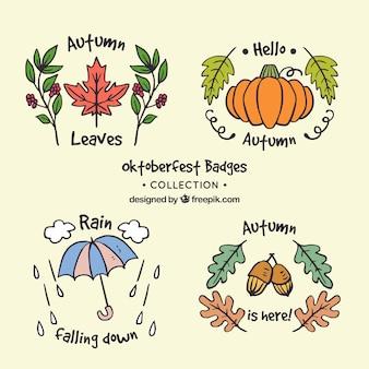 Hand wyciągnąć paczkę cute odznaki jesienią