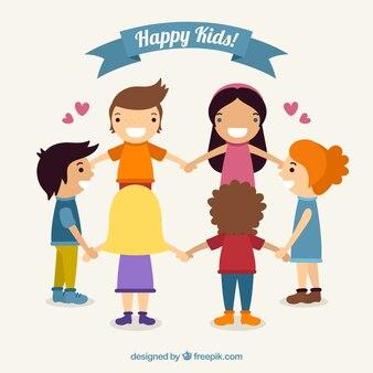 Happy dzieci bawiące się razem