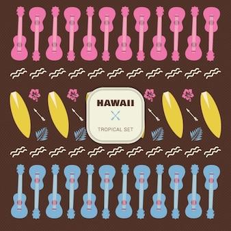 Hawai zestaw elementów tropikalne