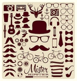 Hipster kolekcja ikon