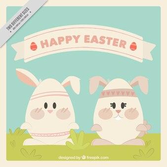 Idealne tło z dwóch królików easter z jaj w kształcie
