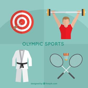 Igrzyska elementy sportowe w płaskiej konstrukcji