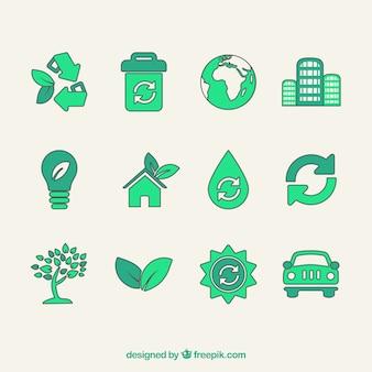 Ikon wektorowych symboli recyklingu