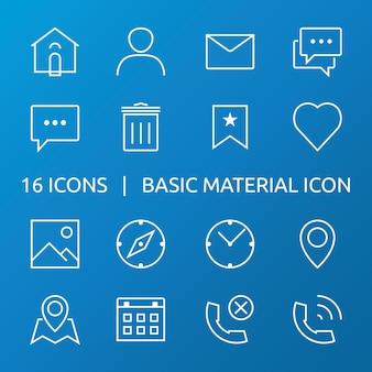Ikona materiału podstawowego. zestaw ikon konspektu.