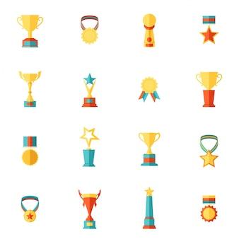 Ikony nagrody płaski zestaw trofeum medal zwycięzca nagrody mistrz filiżanki izolowane ilustracji wektorowych