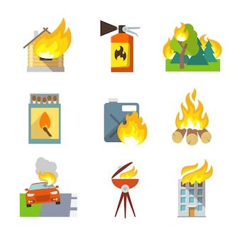 Ikony ochrony przeciwpożarowej zestaw dom lasu wypadków samochodowych izolowanych ilustracji wektorowych