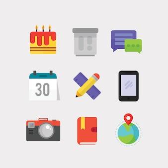 Ikony płaskie do projektowania interfejsu użytkownika