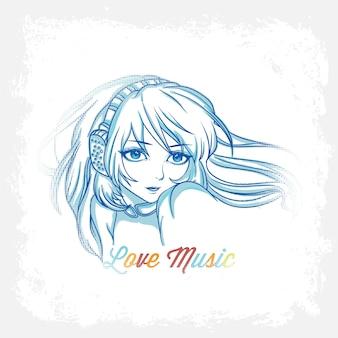 Ilustracja muzyczna z kobietą
