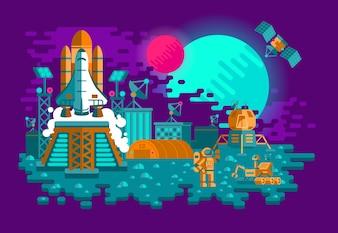 Ilustracja płaskiego stylu rakiety na nieznanej planecie