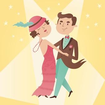 Ilustracja rocznika para tańca