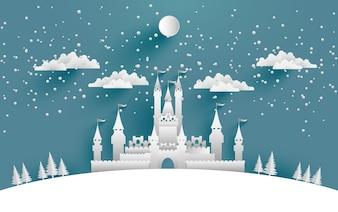 Ilustracja zamek duży zimą na tle, plakaty lub tapety. projektowanie sztuki papierniczej